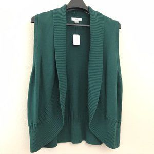 CJ Banks 1X Sweater Vest Green Knit Open Front New
